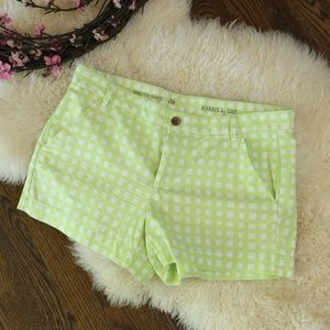 Gap Lime and White Plaid Chino Shorts 6